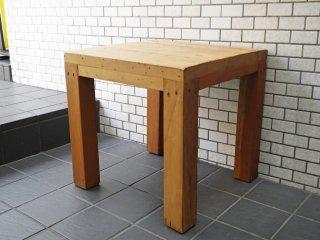 リゾートスタイル アジアンチーク無垢材 古材 サイドテーブル スクエア カントリー ■