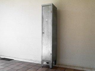 インダストリアルスタイル ブリキ製 ロッカー キャビネット 1ドア 4段 鍵付き フォブコープ購入品 収納 男前家具 ◇