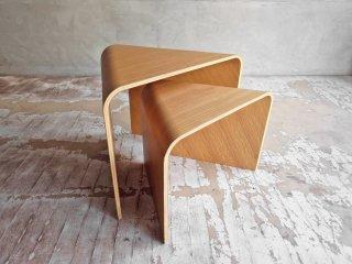 無印良品 MUJI 重なるテーブルベンチ 成型合板 オーク材  大 小 セット スツール ネストテーブル 廃盤♪