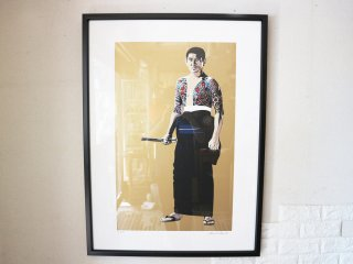 コンラッドリーチ CONRAD LEACH シルクスクリーン 高倉健 アートフレーム 大型 ポスター 額装品 現代アート ポップアート イギリス ◎