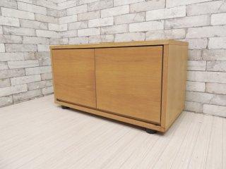 無印良品 MUJI スタッキングキャビネット オーク材 AVボード ローボード 木製扉付 シンプルデザイン ●