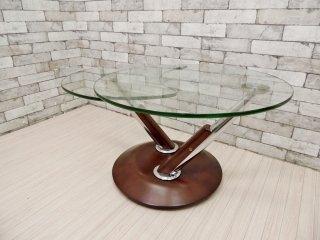 ロナルドシュミット Ronald Schmitt 可動式 ガラステーブル コーヒーテーブル サイドテーブル ブラウン ドイツ モダンスタイル ●