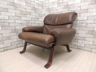 ジーモーベル G-Mobel ビンテージ ソファ 1シータースウェーデン 本革シート 北欧家具 ●