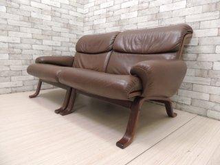 ジーモーベル G-Mobel ビンテージ ソファ 2シータースウェーデン 本革シート 北欧家具 ●