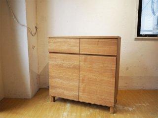 無印良品 MUJI 木製キャビネット w80cm タモ材 ブラウン 木製扉 シンプルデザイン ★
