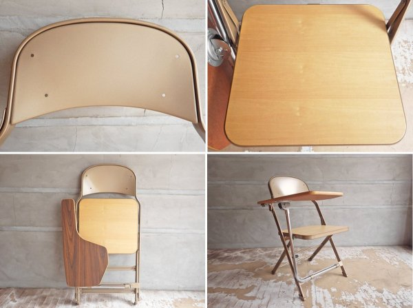 クラリン CLARIN フォールディングチェア with デスク ウッドシート 折り畳み椅子 US 米国 P.F.S 取扱 A♪