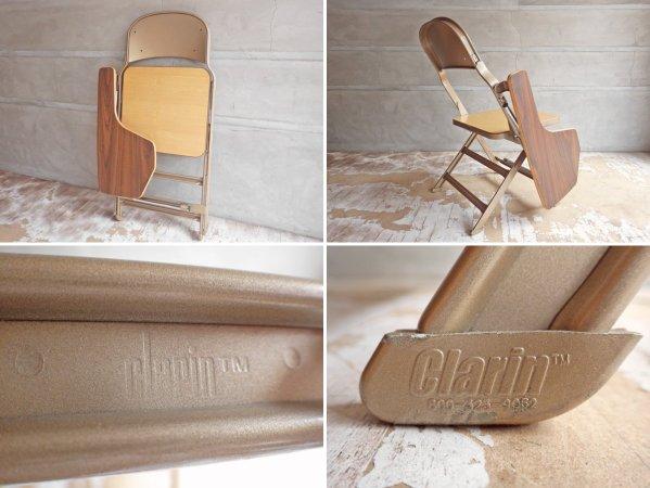 クラリン CLARIN フォールディングチェア with デスク ウッドシート 折り畳み椅子 US 米国 P.F.S 取扱 B♪