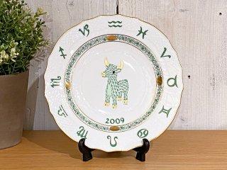 ヘレンド HEREND 干支シリーズ イヤーズプレート 2009年 うし 陶器製 ハンドペイント ハンガリー ■