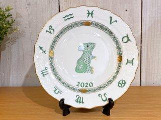 ヘレンド HEREND 干支シリーズ イヤーズプレート 2020年 ねずみ 陶器製 ハンドペイント ハンガリー ■