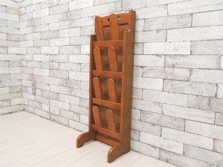カリモク karimoku スリッパラック 天然木 × ラタン 籐 生産終了品 レトロデザイン ●