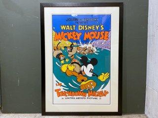 ディズニー Disney ミッキー Mickey タッチダウン TOUCHDOWN MICKEY ポスター 額装 大判 1932年ディズニー映画 ■