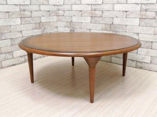 オーク材天板 × イデア IDEA 木製テーブル脚 Wood leg WAL ちゃぶ台 ラウンドローテーブル ダークブラウン リメイク品 ●