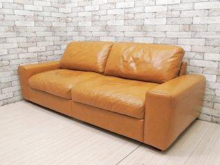 ウニコ unico テラ TERRA レザーソファ 3シーター Leather sofa 3 seater 3人掛け 本革 キャメル フェザークッション 廃番 ●