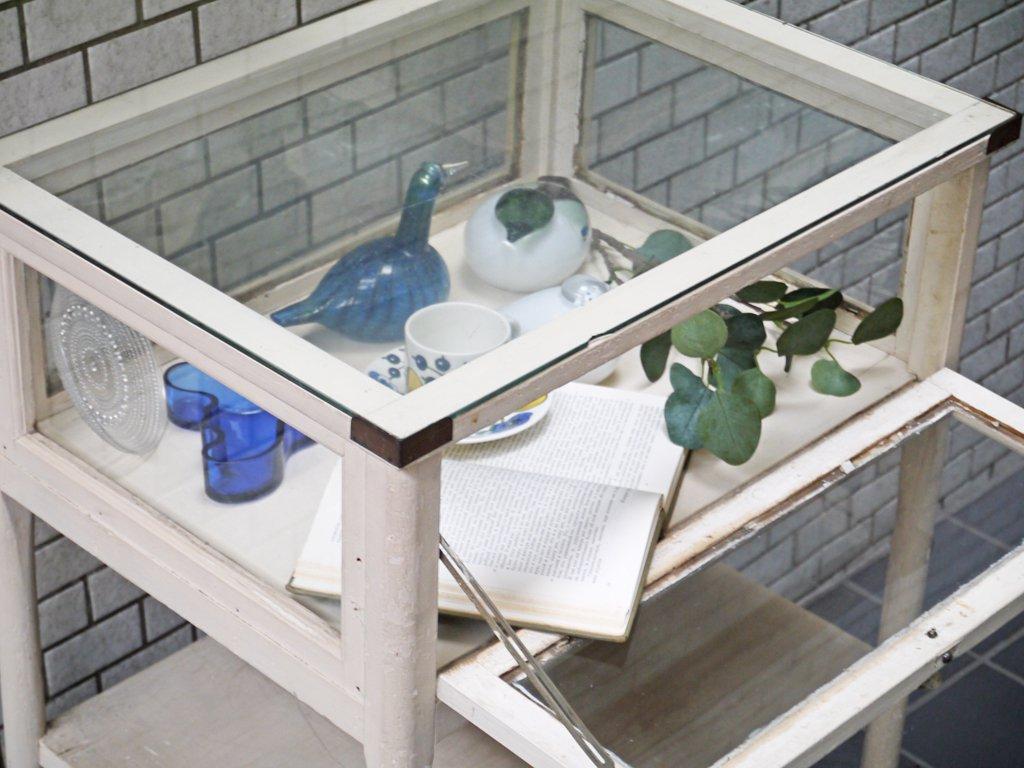 UKアンティーク ペインテッド ガラス キャビネット ディスプレイ コレクション ケース キャスター付き シャビーシック 什器 ■