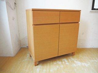 無印良品 MUJI 木製キャビネット W80cm オーク材 木製扉 ナチュラル シンプルデザイン ★