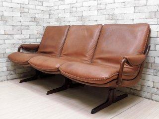 ベルグファニチャー Berg Furniture ビンテージ レザーソファ 3P チーク無垢材フレーム 本革 北欧 デンマーク ●