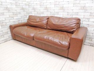 ウニコ unico テラ TERRA レザーソファ 3シーター Leather sofa 3 seater 3人掛け 本革 ブラウン フェザークッション 廃番 ●