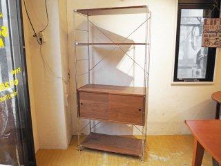 無印良品 MUJI ステンレス ユニットシェルフ 大 ウォールナット オプションボックス付 木製引き戸 幅86cm ★