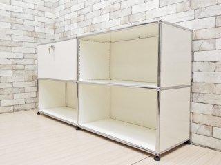 USM モジュラーファニチャー Modular Furniture USMハラー Haller サイドボード キャビネット 2列2段 ホワイト ドロップダウンドア 参考価格:166,600円 ●