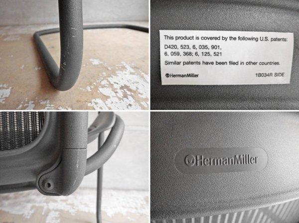 ハーマンミラー Herman Miller アーロン サイドチェア Aeron Side Chair クラシック カーボン ゲストチェア カンチレバー廃盤  定価:\100,440- ♪