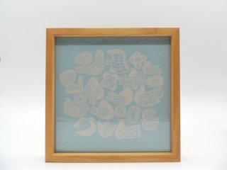 バーズワーズ × イデー BIRDS' WORDS × IDEE graphic シルクスクリーン birds & flowers アートポスター 20cm 額装付 箱付 希少 廃番 ●