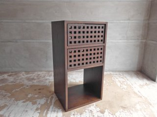 エーフラット a.flat キューブ ユニットキューブ オープンシェルフ ドロワー 格子 1×3 アッシュ無垢材 ♪