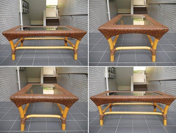 山川ラタン Y.M.K クラシックス CL-260 リビングテーブル 籐製 ガラスローテーブル キャンディブラウン 定価110,000円 ■