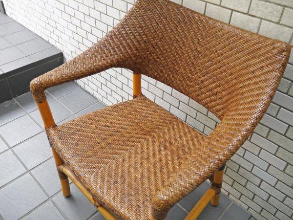 山川ラタン Y.M.K クラシックス CD-260 アームチェア 籐椅子 キャンディブラウン 定価81,400円 ■