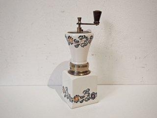 イタリア製 made in italy コーヒーミル 陶器 真鍮 木製ハンドル 手挽き 手動式 花柄 ヴィンテージ ★