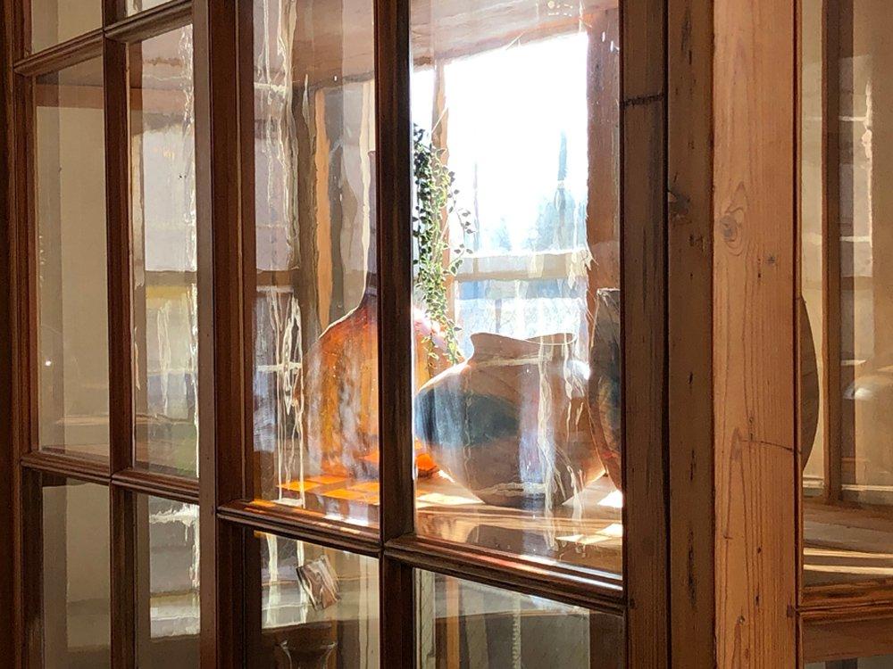 フランス ビンテージ French Vintage オールドパイン ガラスキャビネット スライド扉 飾り棚 H240 ●
