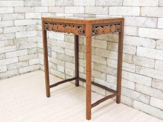 アジアンスタイル Asian Style 木彫りのサイドテーブル ガラス天板 ボタニカル アジアン家具 ●