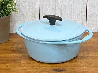 ルクルーゼ LE CREUSET センセーション ココットロンド 両手鍋 Φ20cm サテンブルー 鋳物 フランス ■