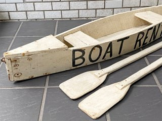 木製 プランター ボート型 オール2本付き ホワイトペイント シャビー ディスプレイ用 店舗什器 ■