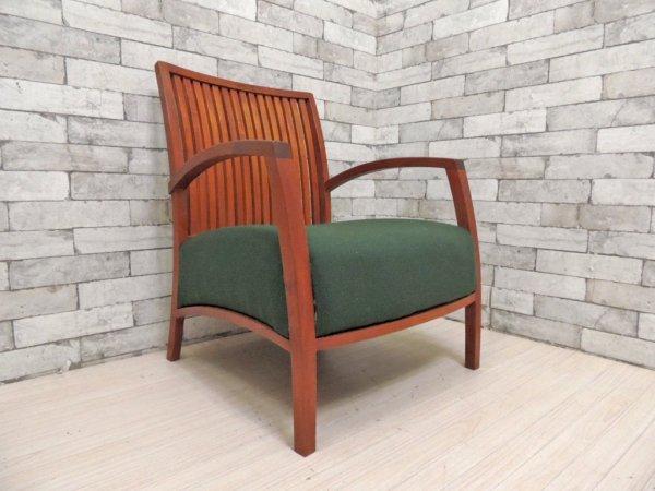 BC工房 安楽きらきら椅子 アーム付 チーク材 ラウンジチェア チーク無垢材 安楽椅子 座面張替済 ●