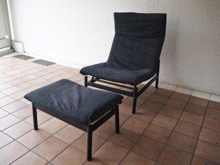 無印良品 MUJI ラウンジソファ Lounge sofa リクライニングソファ オットマン付 カバーリング デニム ◇