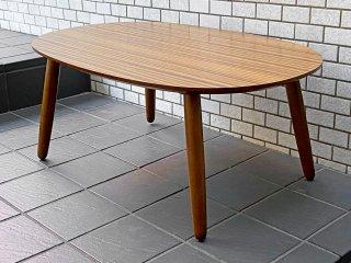 カリモク60+ Karimoku ロクマルプラス ローテーブル デコラトップ メラミン天板 オーバル型 ウォールナット色 ミッドセンチュリー ■