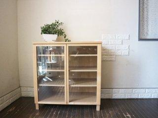 無印良品 MUJI キャビネット 食器棚 木製 ガラス扉付き タモ材 奥行き40cm ◎
