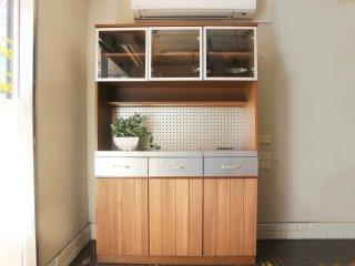 ウニコ unico ストラーダ STRADA キッチンボード レンジボード 食器棚 アッシュ材 W120cm 廃番 ◎