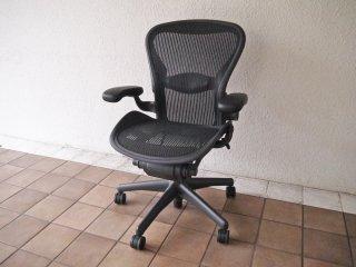 ハーマンミラー HermanMiller アーロンチェアライト Aeron Chair Lite アーム付 Bサイズ ランバーサポート クラシックカーボン グラファイトベース B ◇