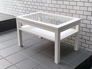 モモナチュラル momo natural シエル CIELE リビングテーブル ローテーブル ガラス天板 パイン材 ホワイト フレンチカントリー ■