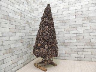 ハンドメイド 松ぼっくり 木製 クリスマスツリー カントリースタイル オブジェ クラフト家具 ●