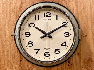 セイコー SEIKO ウォールクロック 壁掛け時計 バス時計 船舶時計 グリーン レトロ スイープセコンド ■
