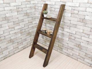 ビンテージ Vintage 古い木味のラダー ウッドラダー 木製梯子 立てかけ式 ディスプレイ 店舗什器 ●