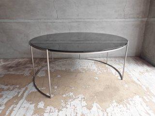 アルフレックス arflex クリップス CLIPS センターテーブル ラウンドテーブル E87 カラーガラス ブラック 定価¥266,200- ♪