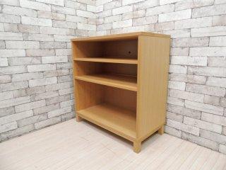 無印良品 MUJI タモ材 組み合わせて使える木製収納 ロータイプ H83cm 本棚 ブックシェルフ 廃番 ●