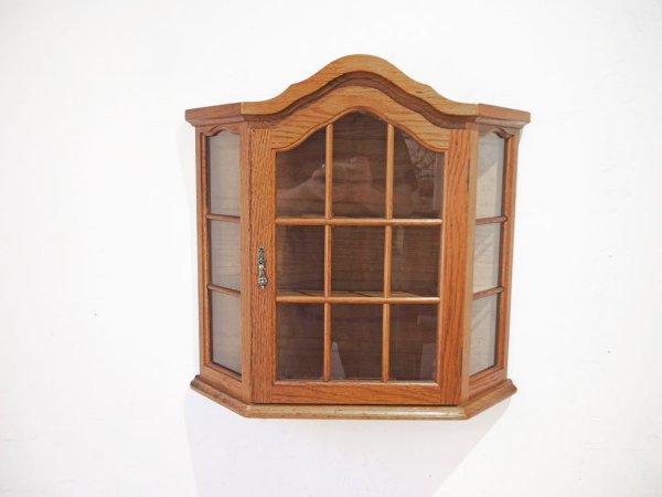ビンテージ ウォールラック キュリオケース ナラ材 スパイスラック 壁掛け 飾り棚 ガラス 3段 ハンドル ★