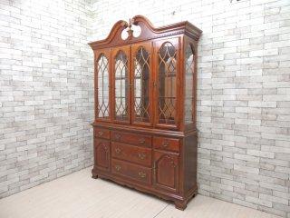ヨーロピアンクラシカルスタイル European classical style キュリオケース カップボード キッチンボード 飾り棚 食器棚 4枚扉 ●