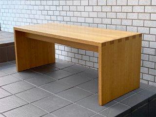 無印良品 MUJI コの字 ベンチ ローテーブル オーク材 無垢材 廃番 W100cm ナチュラル シンプルデザイン ■