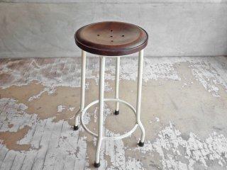オールドメゾン old maison アイアン スツール Iron Stool ボタン型 H61cm チーク材×アイアン 定価:\13,860- ♪