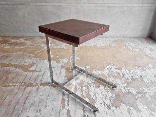 モダンデザイン サイドテーブル ステンレス × ウォールナット 無垢材 A ♪